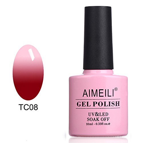 AIMEILI Soak Off UV LED Temperature Color Changing Chameleon Gel Nail Polish - Red Horizon (TC08) 10ml -