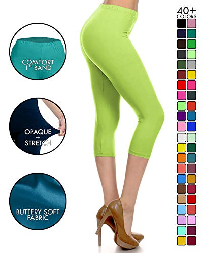 NCPRX128-LIME Capri Solid Leggings, Plus -