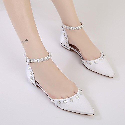 Elegant high shoes Femmes Chaussures de Fête de Mariage 5047-13 Haut de Gamme fermé Orteil Perles Pointues Boucle de Cheville Champagne 4QfxlOIku6