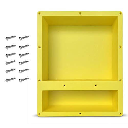 16quot x 20quot Double Shelf Recessed Shower Niche with Mounting Screws included Mounts Flush with 1/2quot Backerboard Ready to Tile Easy to Install and Waterproof by Novalinea