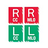 PDC Healthcare MRK-317 X-Ray Marker - Abbreviated,''R and L - CC/MLO'', Polycarbonate, 1-1/16'' x 1-3/16'' x 1/8'', Red/Green (Pack of 4)