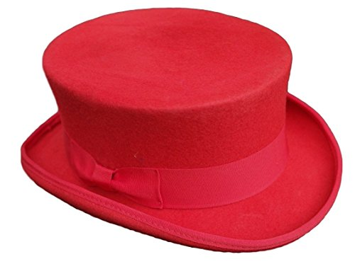 100% Wool red dressage Style Top Hat - L / US Size 7 3/8 (Dressage Top Hat)