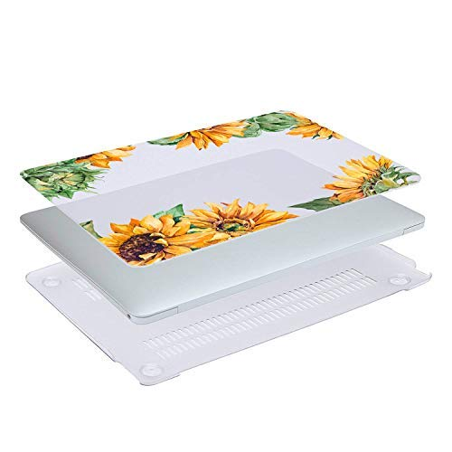 Sunflower MacBook Air 13.3 inch Case, Yellow Floral Hard Shell Clear Case for Model:A1466/A1369 with Keyboard Cover Release 2010-2017