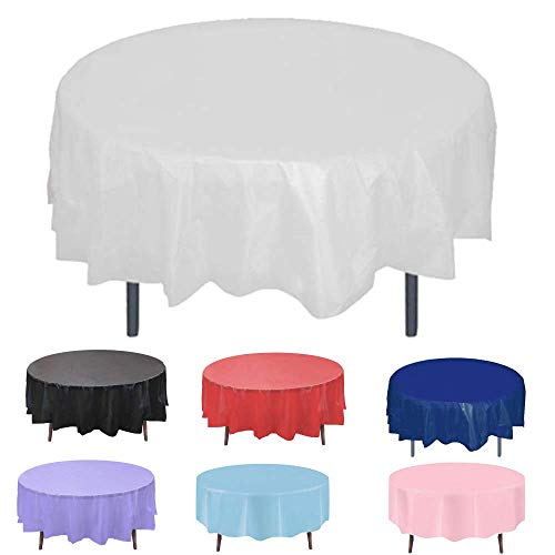 White Round Plastic Tablecloth Table Cloth Cover Protector for Wedding Birthday Party Décor Easter Holiday Banquet Event Supplies Accessories Picnic Cover Waterproof 84 72 60 Inch Disposable 6 Pack
