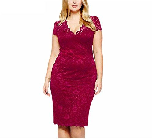 YvetteHouse sexy NEW Women V-neck Short Sleeve Lace Retro Dress Elegant Stretchy Plus Size Party Bodycon Dress Red (Plus Size 90s Fancy Dress)
