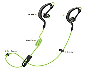 Basstyle Bluetooth Headphones, Secure Snug Fit Wireless Sport Earbuds with Microphone, for iPhone Android AT&T T-Mobile Sprint Verizon Smartphones, Gym Treadmill Armband Run Workout - TB-1133 Green