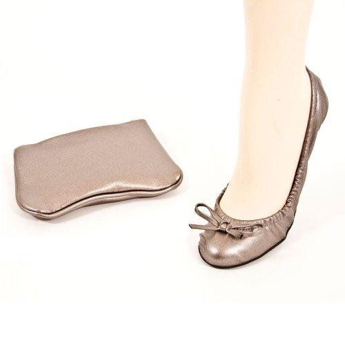 Sidekicks Womens Foldable Ballet Flats Silver ONblk