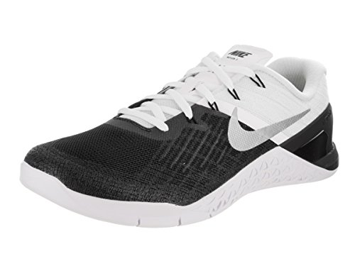 New Mens Nike Metcon 3 Cross Training Sneaker (11.5, Black/White/Metallic Silver)