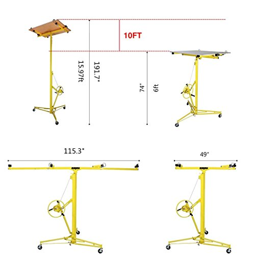 Idealchoiceproduct 16' Drywall Lift Rolling Panel Hoist Jack Lifter Construction Caster Wheels Lockable Tool Yellow by Idealchoiceproduct (Image #6)