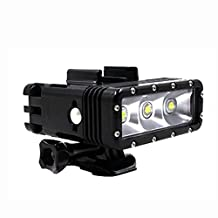 TELESIN Waterproof Superpower Dual Battery Rechargeable Underwater Diving Light Flash Dimmable LED Fill Night Light Mount Kit for Gopro Hero4 Session,4,3+,3,SJ Cameras