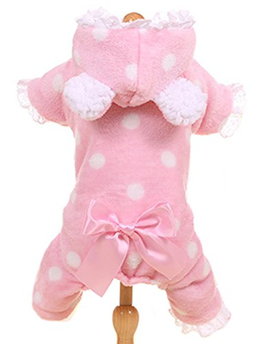 Shih Tzu In Teddy Costume (MaruPet New Autumn/Winter Four-leg Coat with Printed Spots with Lace for Teddy Bear Shih Tzu Pink M)
