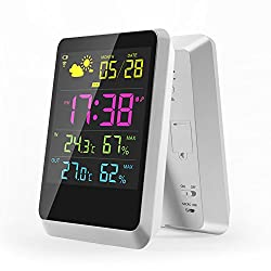 Digital Alarm Clock, Wireless weather station with Large Night Lighting LCD Screen, Weather Monitor Table Clock Indoor/Outdoor with Temperature/Humidity Forecast