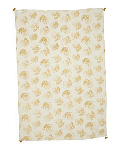 April Cornell Fabric Tablecloth Mustard Yellow Roosters on a Cream/Off-White Background - Backyard Rooster, Gold, 42 Inches x 72 Inches ()