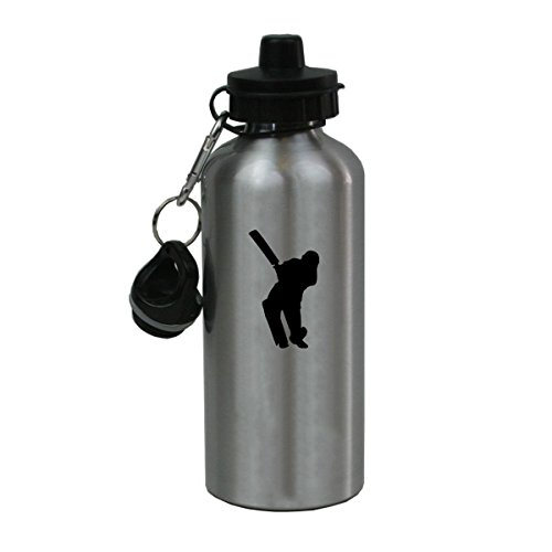 Personalized Custom Cricket Player Aluminum Silver Finish 20 Ounce Water Bottle Customizable by CustomGiftsNow
