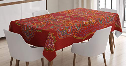 Ambesonne Mandala Tablecloth, Moroccan Persian Design Oriental Rectangular Paisley Floral Print, Dining Room Kitchen Rectangular Table Cover, 52″ X 70″, Burgundy White