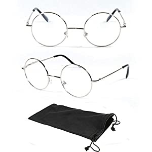 (#VR01 Slv) Black Silver +3.25 One Stop Discount Shop- Designer Round Oval Reading Glasses Reader Spring Hinge Harry Metal