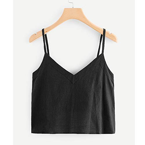 Luweki Womens V Neck Tank Tops Loose Fit Casual Shirts Summer Tops Vest Blouses Black by Luweki (Image #2)