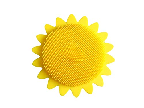 Hair Beauty Brush Sunflower Shape Children's Silicone Massage Bath Comb Hairdressing Comb Portable Comb(Yellow) by Yuchoi