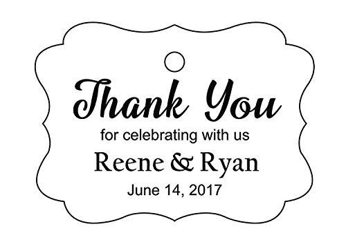 (100 PCS Custom Wedding Favor Hang Tags Thank you for celebrating Personalized Paper Tags)