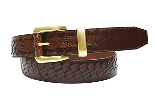 TB798- Men's casual woven stitched full grain leather belt with brass buckle (32, Oxblood) Casual English Picnic Basket