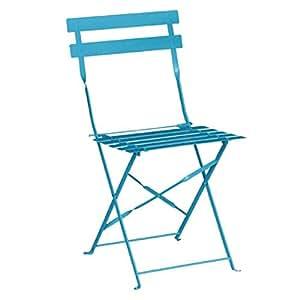 Bolero pavimento estilo acero sillas playa azul (Pack de 2) estructura de acero y asiento asiento. Altura: 440mm