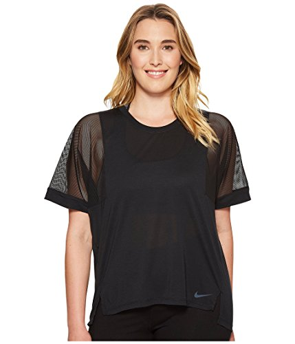 Nike Womens Plus Sheer Mesh Sleeve Pullover Top Black 1X