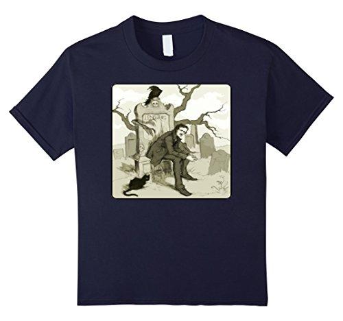 Nevermore Raven Costume (Kids Edgar Allan Poe Lenore Poem Poet Poetry T-Shirt Tee 12 Navy)