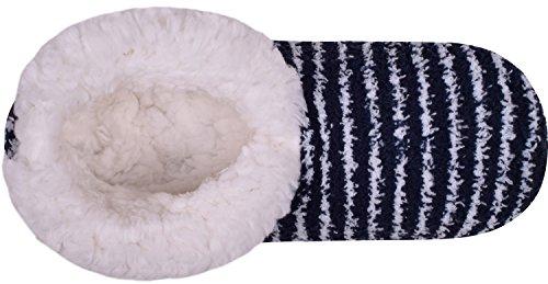 Le Donne Calzino Caldo Pantofole Con Le Pinze Calze Al Coperto Footie Non Skid Bootie Navy