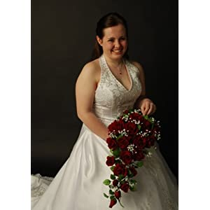 Red Silk Rose Cascade - Bridal Wedding Bouquet 4