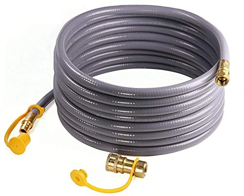 DOZYANT 24 Feet 3/8-inch ID Natural Gas Grill Hose with Quick Connect Propane Gas Hose Assembly for Low Pressure Appliance -3/8 Female Pipe Thread x 3/8 Male Flare Quick Disconnect - CSA Certified (Assembly Natural)