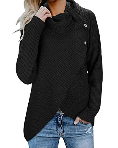 KILIG Womens Long Sleeve Button Cowl Neck Casual Knitted Pullover Sweaters(Black,XXL) (Cowl Black Neck Sweater)