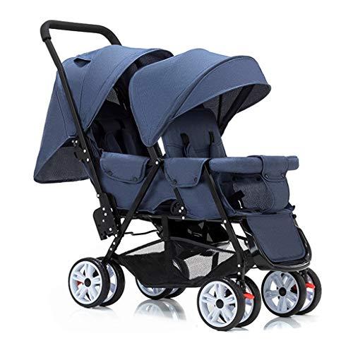 Double Stroller, Twin Tandem Baby Stroller, 5 Points Safety Belts, Foldable Design for Easy Transportation (Color : Blue)