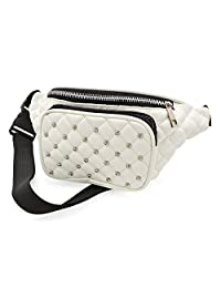White Padded Stud Faux Leather Waist Bag Fanny Pack Money Bum Bag Hip Belt