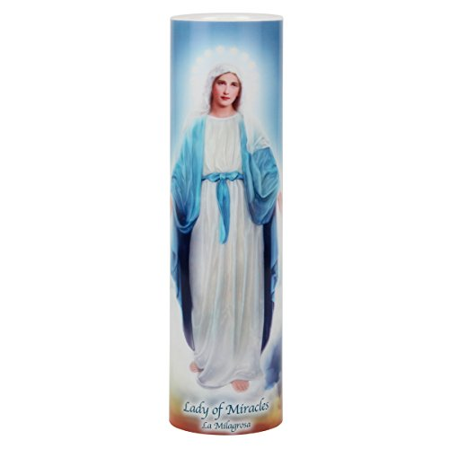 (Lady of Miracles LED Flameless Devotion Prayer Candle 6 Hour Timer, Religious Gift)