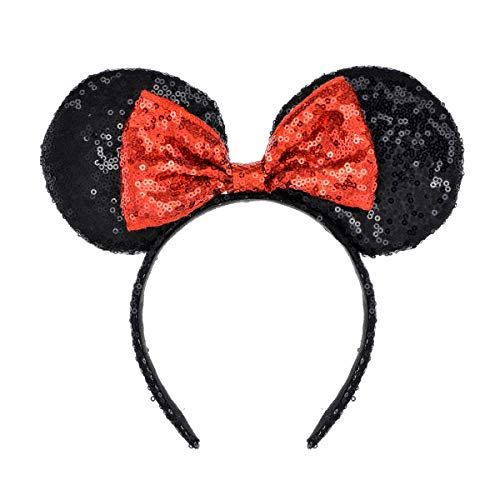 A Miaow Mickey Mouse Sequin Ears Headband Minnie Glitter Hair Clasp Birthday Supply Girls Kids adult (Black and Red) ()