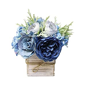 "Sweet Home Deco 8"" Silk Rose Peony Hydrangea Mixed Flower Arrangement w/ Wood Vase Wedding Home Decorations (Blue)"