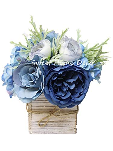 Sweet Home Deco 8'' Silk Rose Peony Hydrangea Mixed Flower Arrangement w/ Wood Vase Wedding Home Decorations -