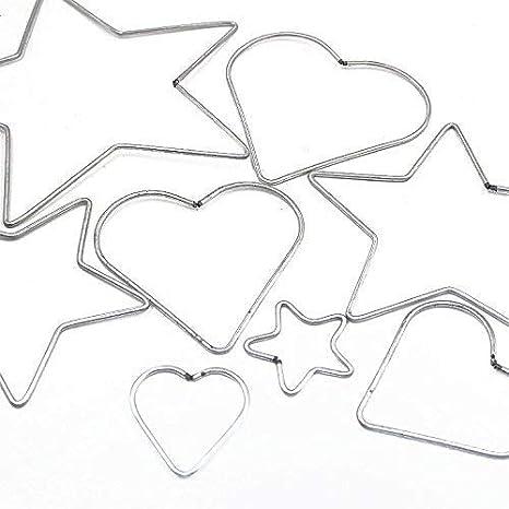 12CM Yziss Craft Metal Star//Heart Shaped Rings Metal Hoops Heart Metal Dream Catcher Dreamcatcher Ring Macrame Craft Hoop DIY Accessories