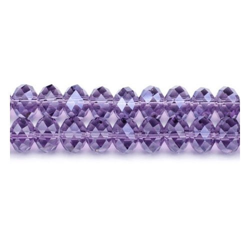 Strand 70+ Violet Czech Crystal Glass 6 x 8mm Faceted Rondelle Beads GC3537-3 (Charming Beads)