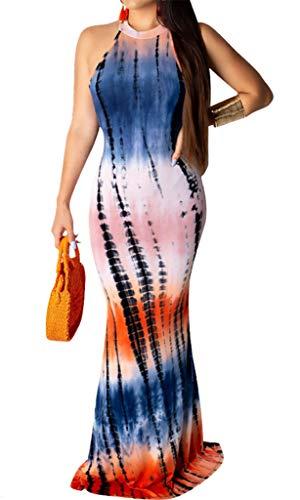 Bodycon4U Boho Women's Racerback Tie Dye Ombre Maxi Dress Boho Bodycon Evening Gown Mermaid Long Dress Blue