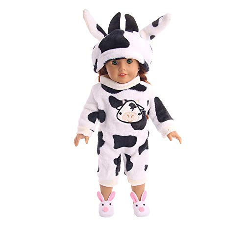 Gbell 18 Inch Doll Cute Tiger Cow Pajamas Jumpsuit & Hat -Doll Winter Nightgown Elephant Cheetah Animal Patterns Sleepwear Clothes for 18 inch American Girl Our Generation Doll Clothes Accessories -