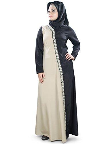 MyBatua Warm Grey & Black Musulmanes bordados fiesta y ropa formal Abaya AY-399