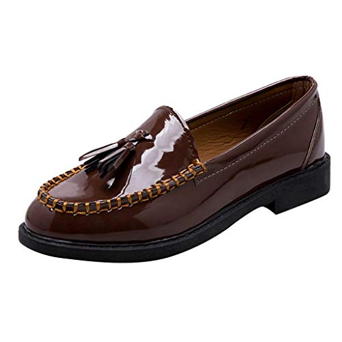Cenglings Women Classic Flats Loafers Comfortable Slip On Tassel Shoes Patent Leather College Shoes for Girl (Leather Guess Patent Sandals)