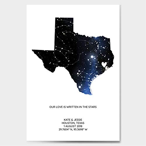 Personalized Star Constellation Map State OR Country Chart Gift Custom Engagement Anniversary