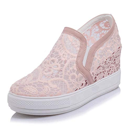 - Women's Hidden Heel Wedges Shoes Low Top Platform Casual Lace Pull On Fashion Sneakers Pink
