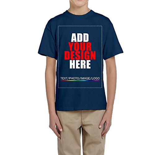 Youth Custom t-Shirt Tee, Design Your Custom Shirt, Add Your Image Photo Text Navy