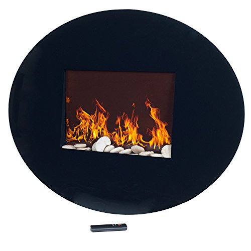 black oval glass electric fireplace