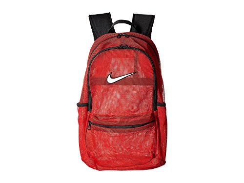 NIKE Brasilia Mesh Backpack, Black/White, One Size