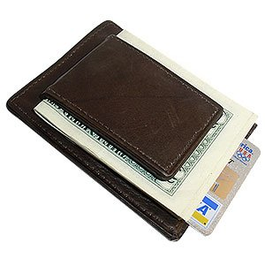 mwmed910rbr magnetic money clip card holder leather wallet brown - Money Clip And Card Holder