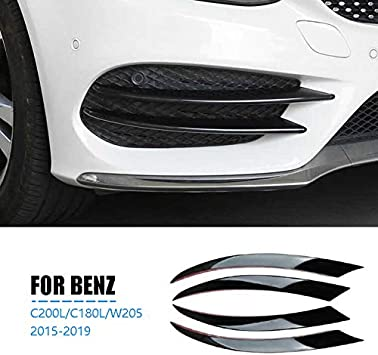 C180L Fauge Parachoques Delantero Negro Divisor de Labios Spoiler Luces Antiniebla Adorno Adhesivo para Mercedes Clase C W205 C180 C200L